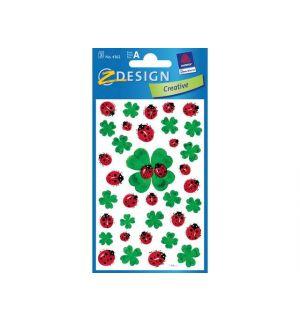 Papieretiket Z-Design Creative Pakje A 3 Vel Klavers/Lieveheersbeestjes