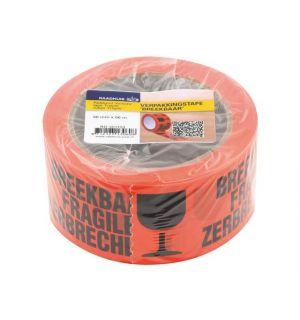 Verpakkingstape Raadhuis 50Mx66M Oranje Breekbaar