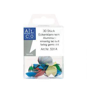Hoekclips Alco Aluminium Assorti Kleuren Doos 30 Stuks
