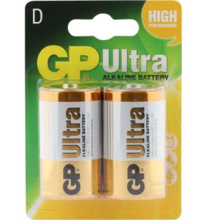 GP Ultra Plus Alkaline D Mono grote staaf, blister 2