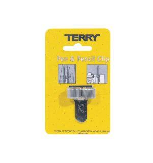 Terry Clip Voor 2 Pennen En/Of Potloden Zilver