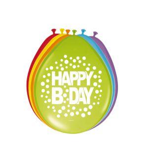 Happy Bday Stippen Ballonnen 30cm - 8 stuks
