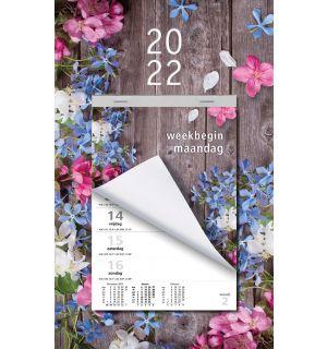 Week Scheurkalender 2022 - Week begint op Maandag - Bloemen