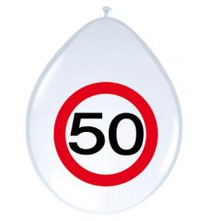 50 Jaar Verkeersbord Ballonnen - 8 stuks
