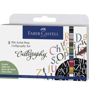 tekenstift Faber-Castell Pitt Artist Pen kalligrafieset 8x
