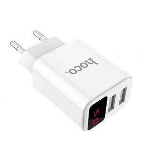Hoco Stekker met 2 USB poorten en digitaal display 5V / 2.1A - Wit