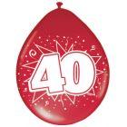 40 Jaar Ballonnen Robijn Rood - 8 stuks
